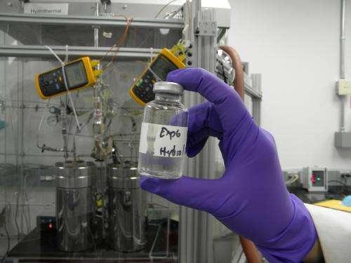 Bubbling up organics in an ocean vent simulator