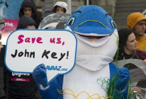 Campaigners call on Prime Minister John Key to help save the critically endangered Maui's dolphin, on May 2, 2012