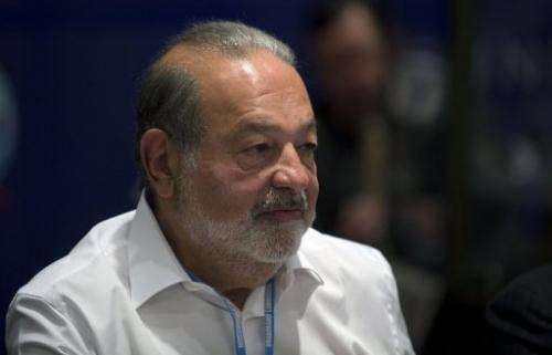 Carlos Slim attends the Broadband Commission for Digital Development meeting in Mexico City on March 17, 2013