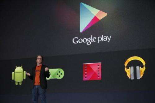 Chris Yerga, of Google, introduces some of the features of Google Play, on June 27, 2012