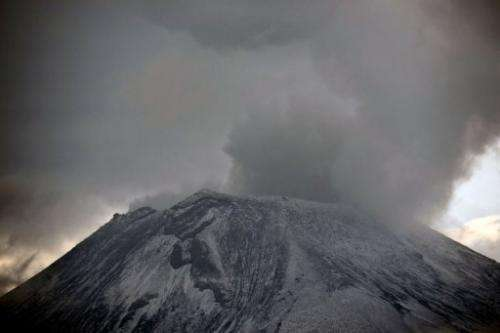 Clouds of ash and smoke are spewed from the Popocatepetl Volcano, in Puebla, Mexico, on May 13, 2013