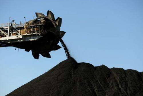 Coal is being stockpiled at Newcastle port, Australia's New South Wales state, on April 25, 2012