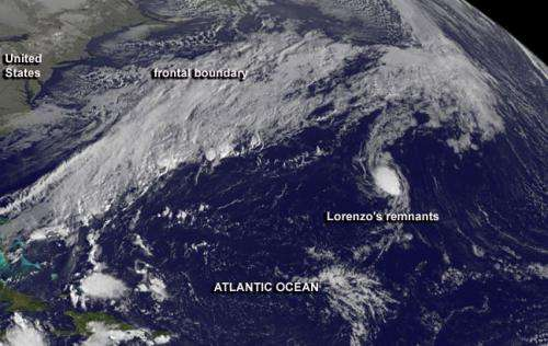 Cold front coming to swallow remnants of Tropical Storm Lorenzo