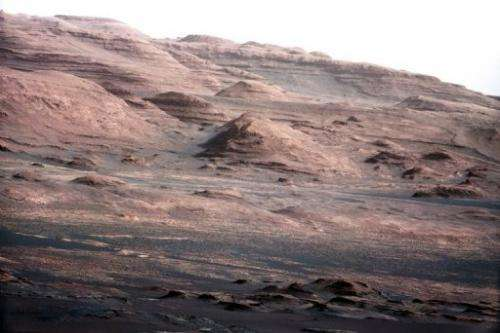 Colour image released by NASA on August 28, 2012 and taken on Mars by the Curiosity rover on August 23 shows Mount Sharp