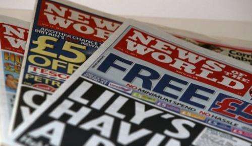 Copies of now defunct News of the World tabloid are pictured in London, on July 7, 2011