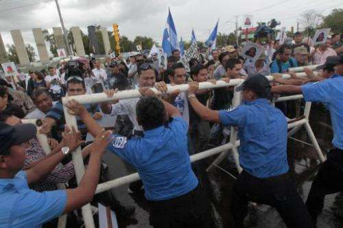 Demonstrators gather in front of parliament  in Managua, June 13, 2013, to protest against a proposed $40bn waterway