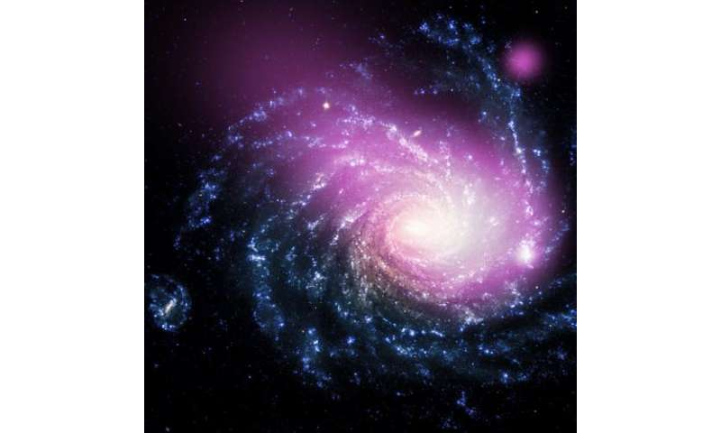 Dwarf galaxy caught ramming into a large spiral