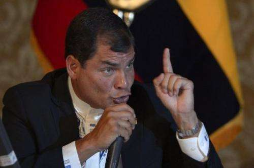 Ecuadorean President Rafael Correa speaks to the foreign press in Quito on February 20, 2013