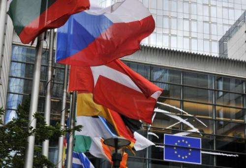 EU member states' flags fly in front of the European Parliament in Brussels on July 19, 2012