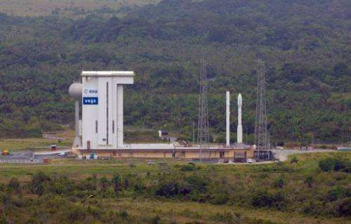 European Space Agency picture shows the Vega rocket on its launch pad prior to its maiden flight last year