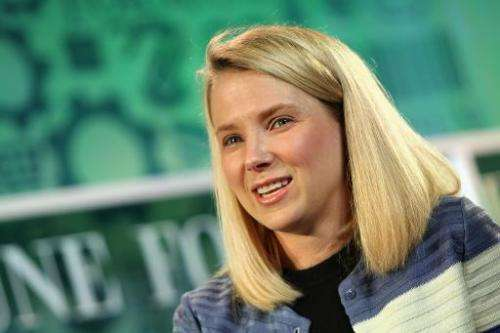 Ex-Google executive, now Yahoo CEO, Marissa Mayer, speaks onstage at the FORTUNE Most Powerful Women Summit in Washington, DC, o