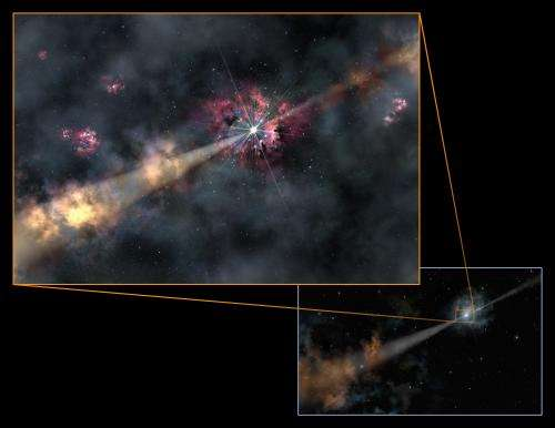 Explosion illuminates invisible galaxy in the dark ages