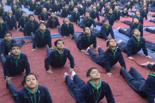 File illustration photo of Indian schoolchildren performing yoga at a school in Amritsar, on February 18, 2013