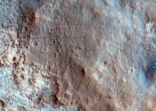 First color image of Curiosity's tracks from orbit