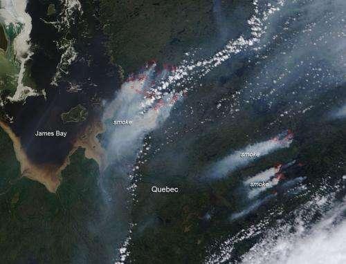 Forest fires near James Bay, Quebec