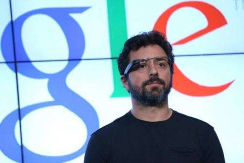 Google co-founder Sergey Brin gives a news conference at Google headquarters on September 25, 2012 in Mountain View