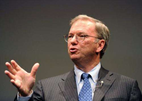"Google's Chairman Eric Schmidt, pictured September 25, 2012, plans to sell 3.2 million ""A"" shares"