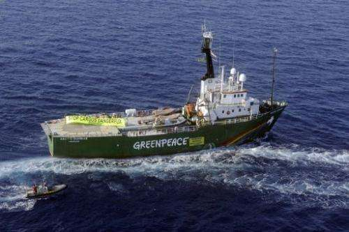 Greenpeace ship Arctic Sunrise pictured off Bonifacio, Corsica on July 30, 2008