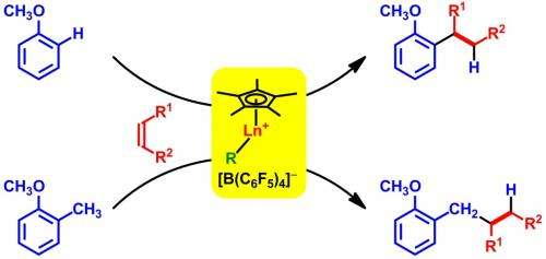 'Half-sandwich' rare-earth catalysts provide unprecedented directional control over aromatic insertion reactions