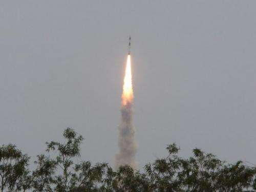 India's Polar Satellite Launch Vehicle PSLV-C21 blasts off at Sriharikota in Andhra Pradesh state on September 9, 2012