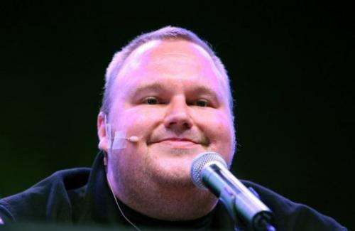 Internet tycoon Kim Dotcom is pictured during a press conference at his Auckland mansion on January 20, 2013