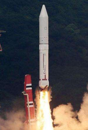 Japan's new solid-fuel rocket launches at the Uchinoura Space Center in Kagoshima on September 14, 2013