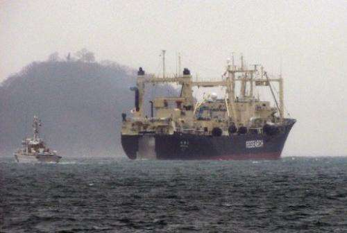 Japan's whaling research ship the Nisshin Maru is pictured on December 28, 2012 leaving Innoshima island for south Japan