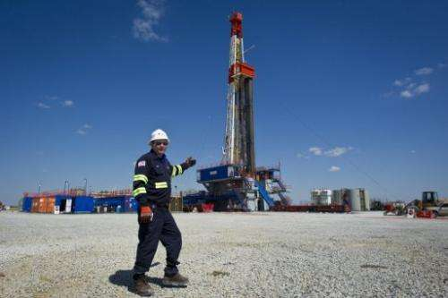 Jeff Boggs of Consol Energy in in front of a rig exploring the Marcellus Shale outside Waynesburg, PA on April 13, 2012