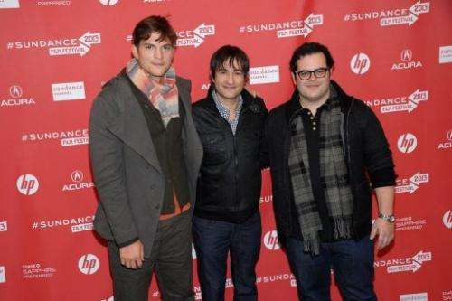 "(L-R) Ashton Kutcher, Joshua Michael Stern and  Josh Gad at the premiere of ""jOBS"" on January 25, 2013"