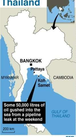Map locating Ko Samet in Thailand where some 50,000 litres of crude oil gushed into the sea from a leak