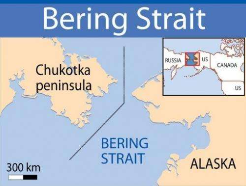 Map locating the Bering Strait