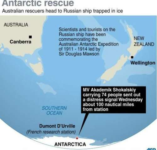 Map showing the area in the Antarctic where Australian ice-breaking ships have been sent to rescure a Russian ship trapped in ic
