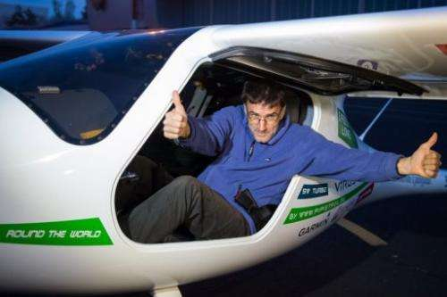 Matevz Lenarcic, a Slovenian pilot poses at Brnik airport prior to his flight over the North Pole on April 22, 2013