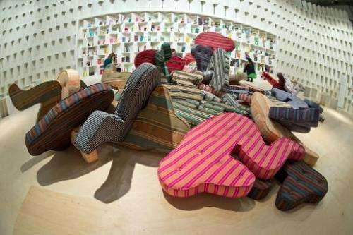 Mattresses shaped like people in the Brazil booth on October 7, 2013 ahead of the Frankfurt Book Fair