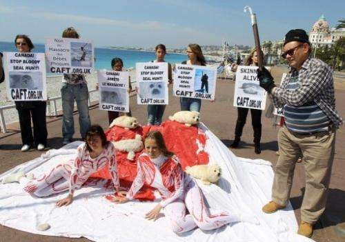 "Members of ""The Coalition to Abolish the Fur Trade"" demonstrate on May 7, 2011 in Nice"