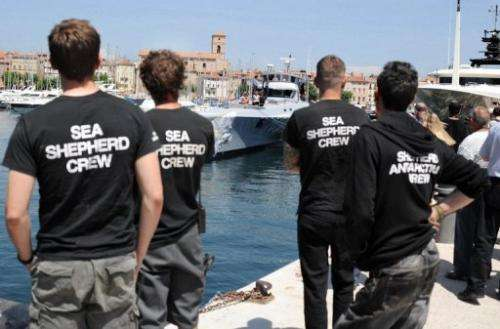 Members of the Sea Shepherd Conservation Society look at the group's multihull Brigitte Bardot, May 25, 2011 in France