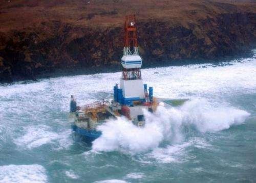 Mobile drilling unit Kulluk owned by Shell aground on the southeast side of Sitkalidak Island, Alaska, January 1, 2013