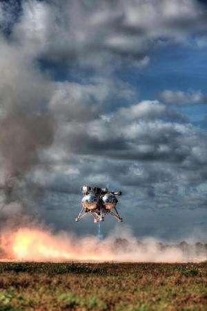 Morpheus project lander roars in free flight test