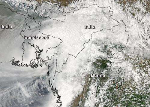 NASA sees heavy rainfall as Cyclone Mahasen made landfall