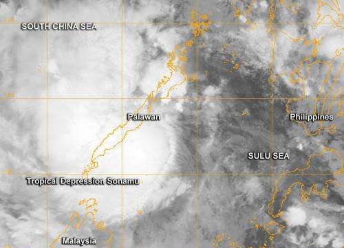 NASA sees Tropical Depression Sonamu form near Philippines