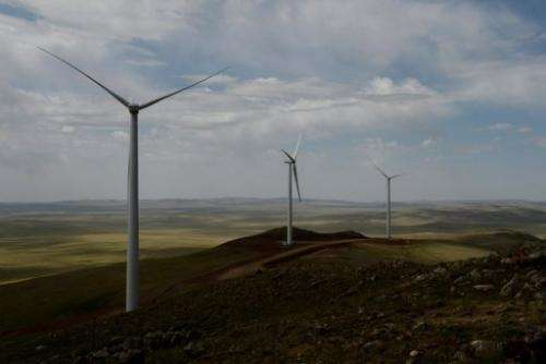 Newly installed turbines at the Salkhit Mountain wind farm, 70 kilometres from Ulan Bator, June 4, 2013