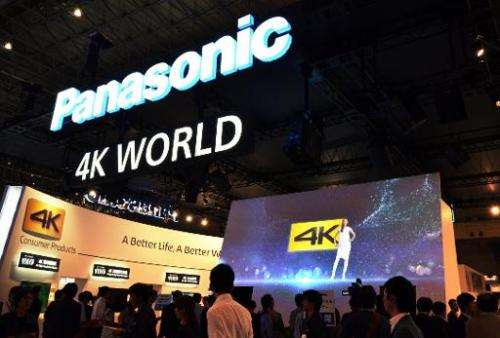 Panasonic displays its Viera LCD and OLED 4K television sets at the Ceatec electronics trade show in Chiba, Tokyo on October 1,