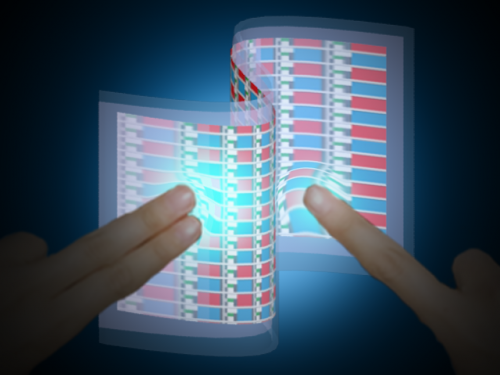 Paper-thin e-skin responds to touch by lighting up