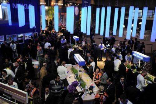 People visit Nokia stand during the 2013 Mobile World Congress in Barcelona, on February 26, 2013