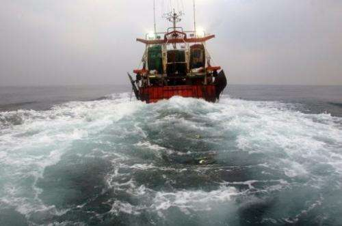 Photo of a French trawler taken February 2, 2006, during a fishing trip in the English Channel