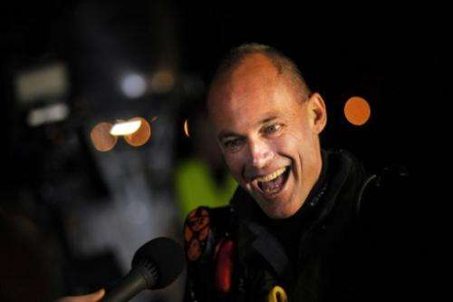 Pilot Bertrand Piccard, seen before taking off in the Solar Impulse from Mountain View, California on May 3, 2013