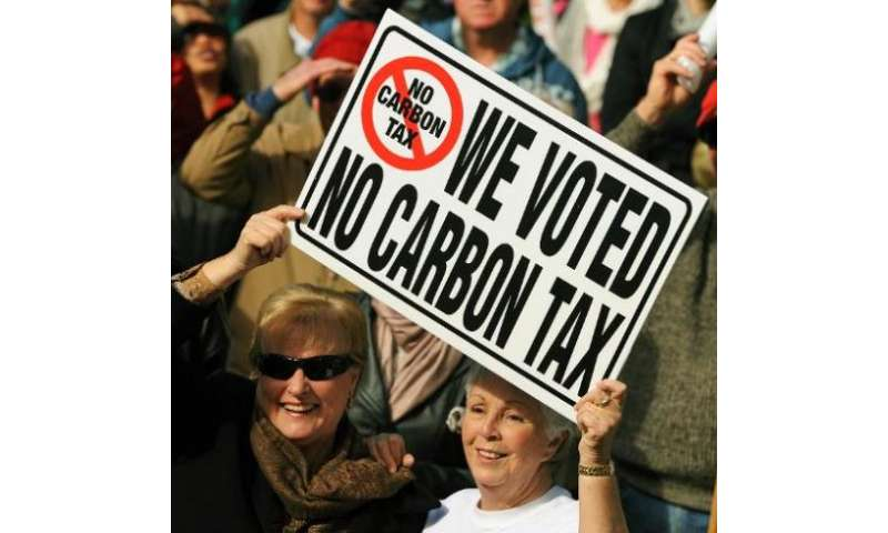 Protesters hold a placard during a no carbon tax rally in Sydney on July 1, 2012