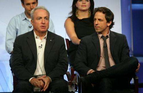 """Saturday Night Live"" executive producer Lorne Michaels (L) and actor/head writer Seth Meyers speak on July 20, 2008"