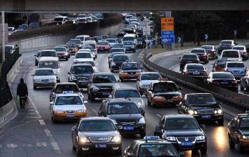 Rush hour traffic in Beijing on December 31, 2010
