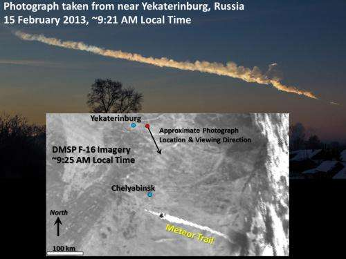Scientists discover satellites captured Chelyabinsk meteor debris trail